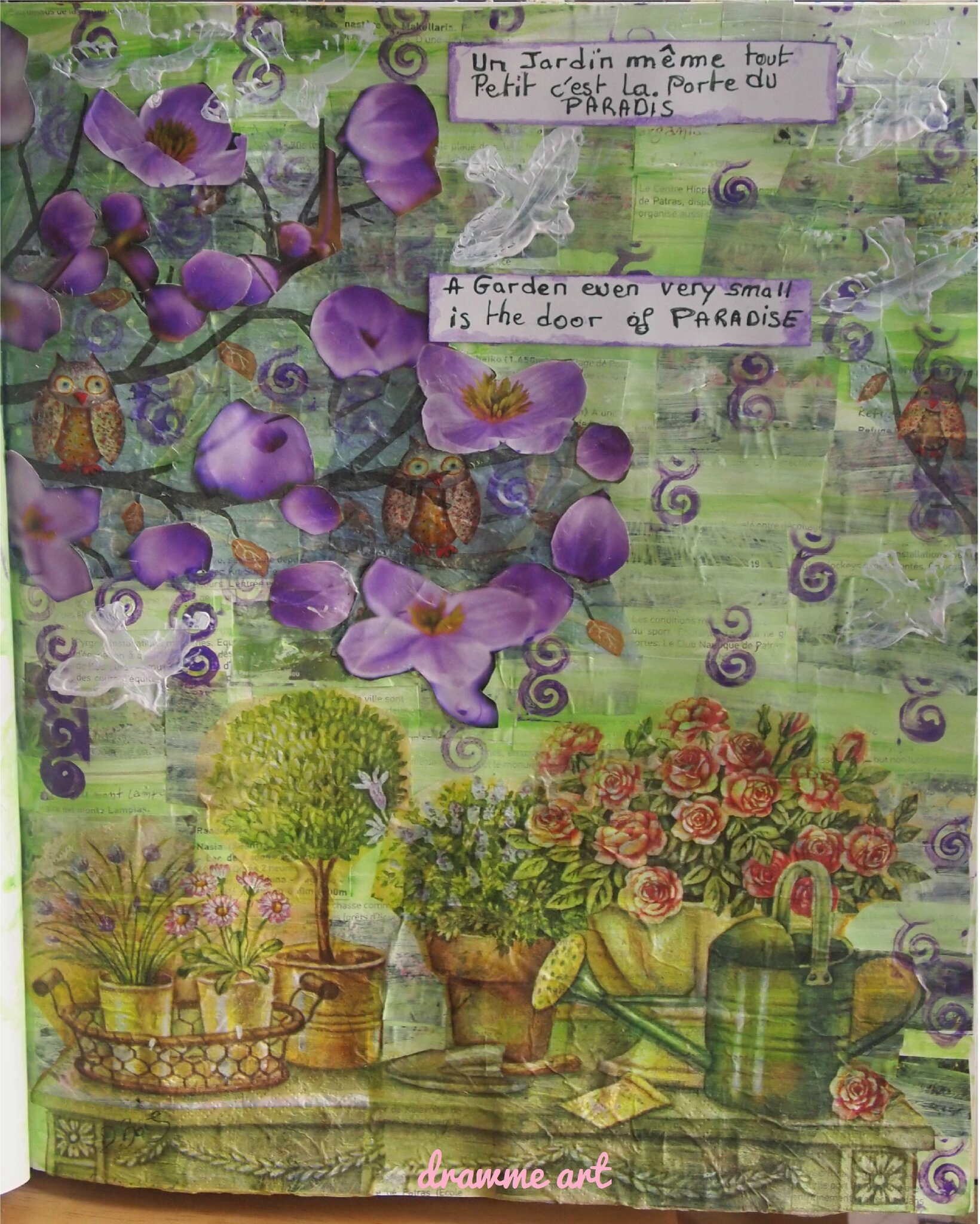 "Art Journal Prompt - 47 - Napkins ""Serviette en papier"" £ Art Journal et Gribouillage - 128 - Citation ""Quote"""