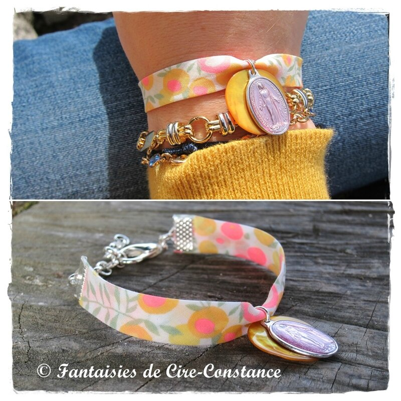 bracelet méd mir rose nacre jaune