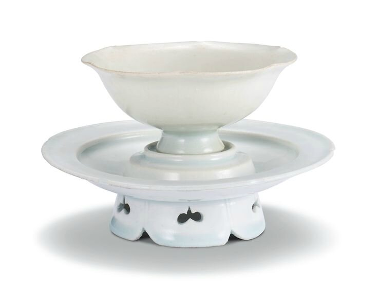 A Qingbai lobed cup and cupstand, Northern Song dynasty