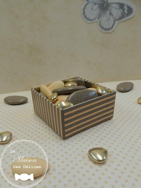 boite elegante dragees mariage qualite contenant ballotin peche saumon abricot poudre taupe dore amande avola chocolat elegant ecrin