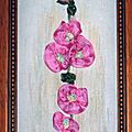 Broderie au ruban pour des roses trémières