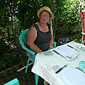 Repas de famille au jardin et visite du jardin et du potager