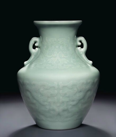 A Rare Celadon Glazed Relief Decorated Archaistic Vase Qianlong Six Character Seal Mark In