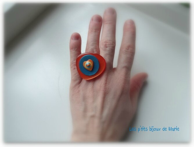 Bague orange coeur 6
