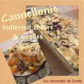Cannellonis butternut, chvre & giroles