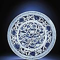 A magnificent large blue and white 'Mandarin ducks' charger, Yuan dynasty (1279-1368)