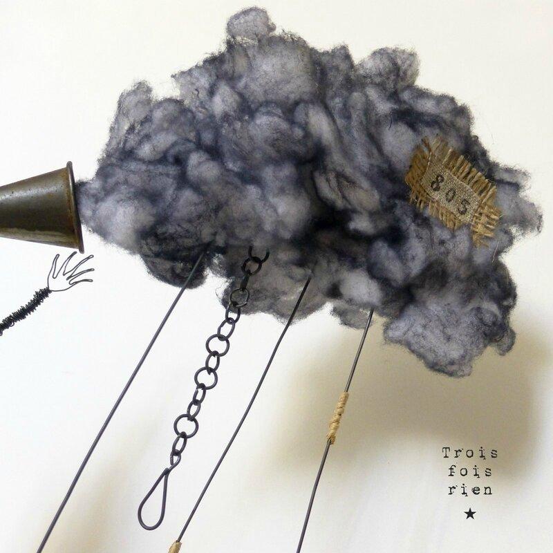 Le chasseur de nuages, clouds hunter, personnage fil de fer, fil de fer, trois fois rien, wire, wire art 7