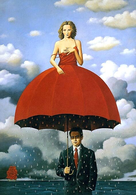 Rafal Olbinski Woman Umbrella