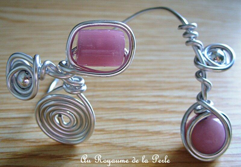 Bracelet alu rose et métal argenté 2