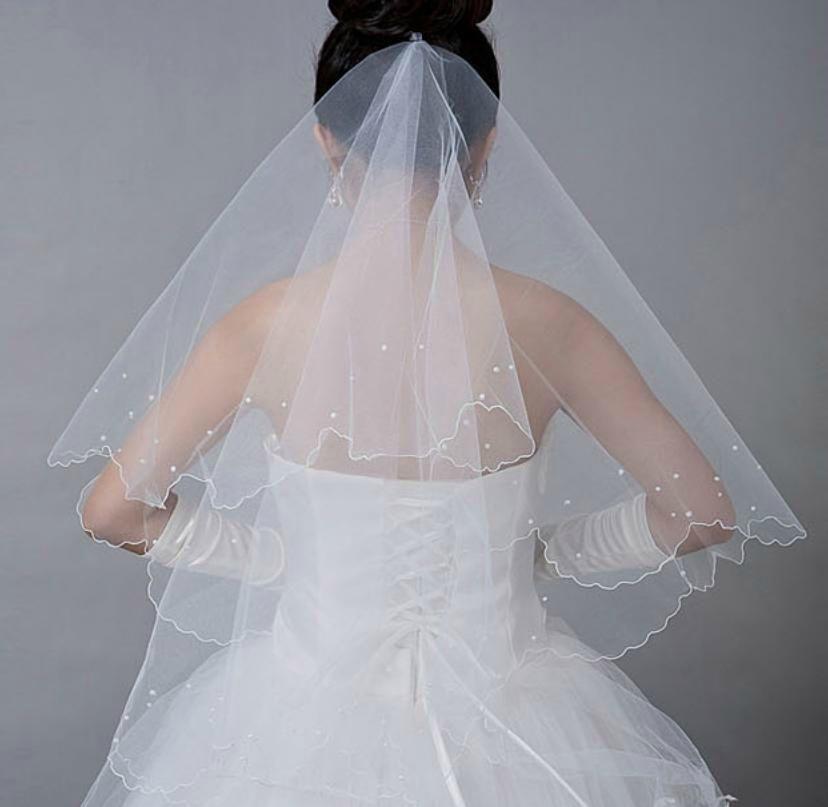 voile de mariée avec perles blanc ou ivoire (voile n° 13)