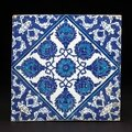 Blue and white iznik tile, turkey, first half of the 16th century.