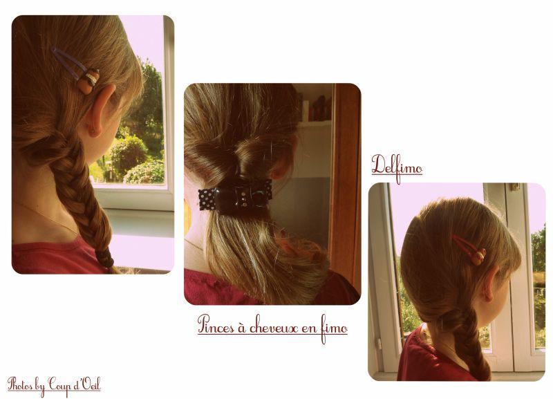 Pinces à cheveux en fimo