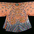 A silk dress with dragons on orange background, china, qing dynasty, 19th century