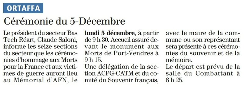 cérémonie du 5 décembre