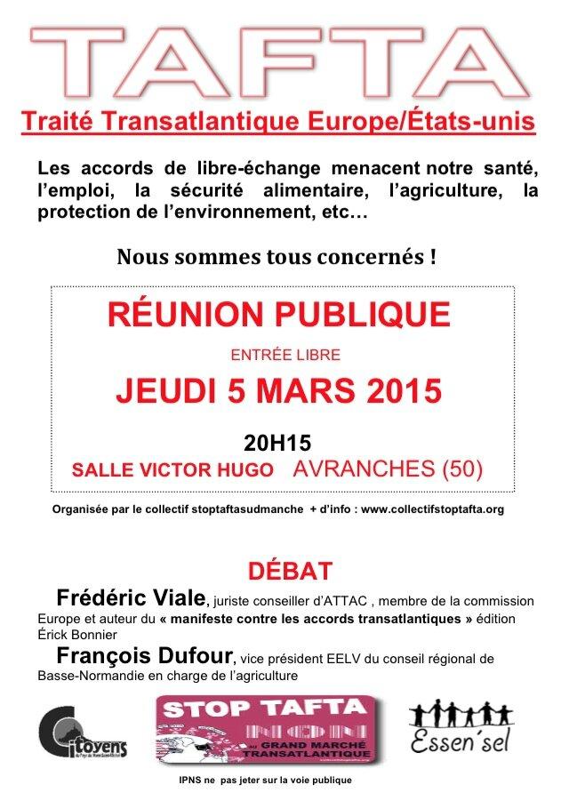 réunion publique d'information sur le Grand Marché Transatlantique à Avranches - jeudi 5 mars 2015