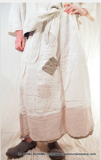 3-MP Skirt Celestyna Skirt patches antique white end flax