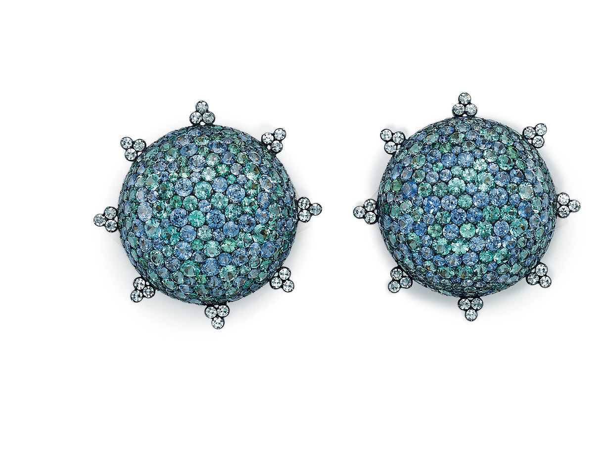 A pair of multi-colored gem-set and diamond earclips, by JAR
