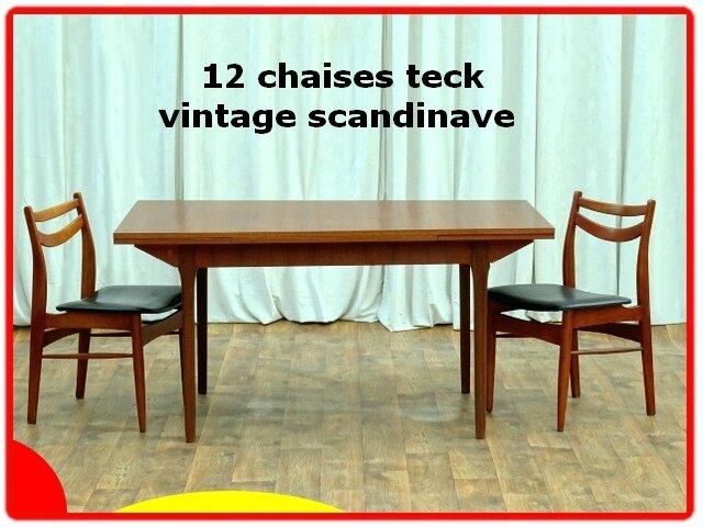 12 chaises teck vintage scandinave 1960