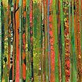 Forêt #13, 2011, acrylique, collage et coulures sur papier, 42 x 30 cm