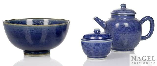 A group of three powder-blue ground decorated porcelains from the 'Hatcher collection', China, 17th century