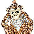 Tiffany & co. gold diamond monkey brooch