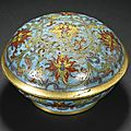 A small chinese cloisonné enamel 'lotus' box and cover, qianlong mark and period (1736-1795)
