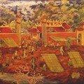 Lethan - vietnam - panneau laqué « ouverture des portes de la grande demeure »