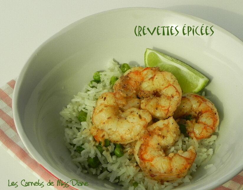 Crevettes épicées sur riz au gingembre et aux pois verts, sans gluten et sans lactose
