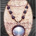 Collier noir sucré et maxi rond spirale argent (N)