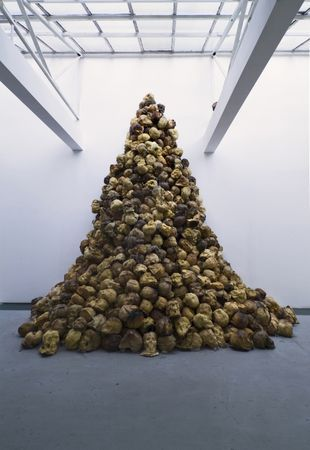 Jeph Gurecka, Memento Mori, 2005. Bread, archival resin. approx. 15' X 10 457 cm X 305. 1000 anatomically correct cast human skulls in various types of bread, archival resin. collection of Futura Gallery and Castle Trebesice, Prague Czech Republic