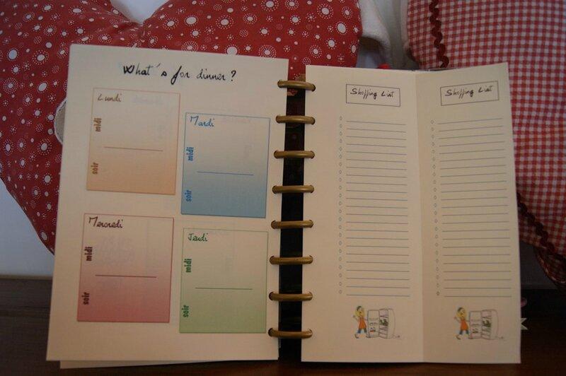 Agenda Liste de courses et menus