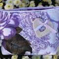 pochette tissu fleuri violet