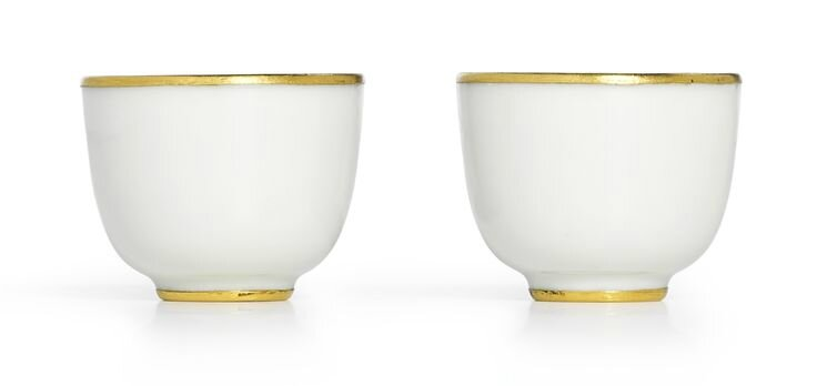 A fine pair of small white-glazed cups, Marks and period of Kangxi