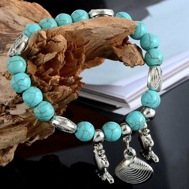 1PC-Turquoise-Beads-Bracelet-Ethnic-Stretch-Bangle-Fish-Shell-Charm-For-Women-Girls-Summer-Style