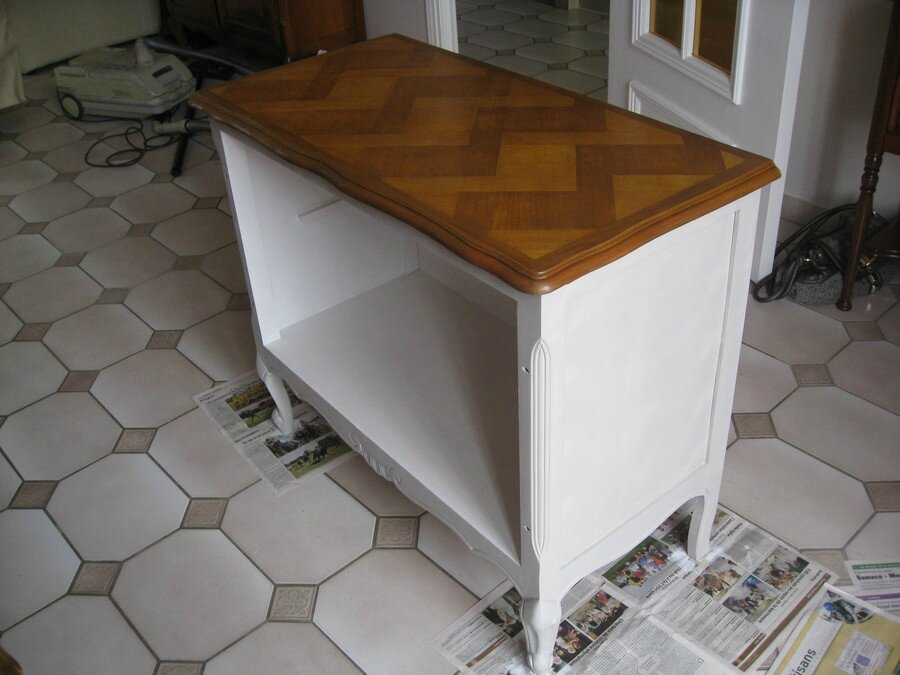 Préférence Relooking d'un meuble en merisier avec Eléonore Déco - A l'heure  JL49