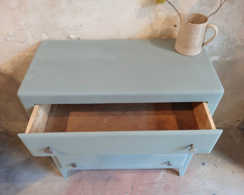 commode annees 60 duck egg blue dessus