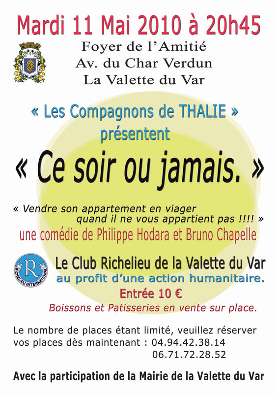soir e richelieu la valette pi ce de th tre le 11 mai club richelieu de toulon. Black Bedroom Furniture Sets. Home Design Ideas
