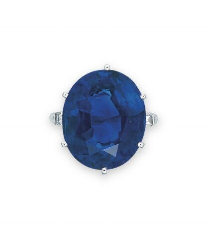 A sapphire and diamond ring, by Harry Winston