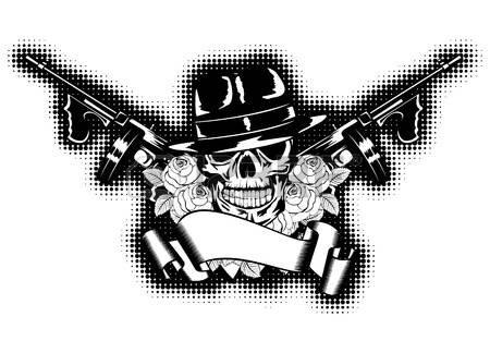 13613807-illustration-de-gangster-roses-pistolet-mitrailleur-et-la-banni-re