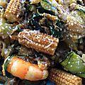 Tagliatelles de courgettes - babycorn et crevettes au curry et parmesan