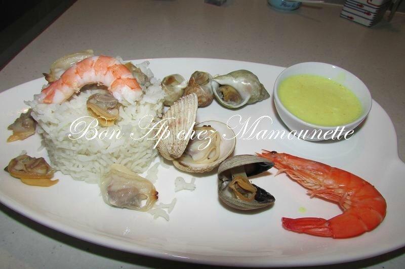 riz basmati bulots, praires, palourdes, crevettes, sauce curcuma 009
