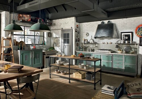 Bistrot industriel insid co for Industrial chic kitchen designs