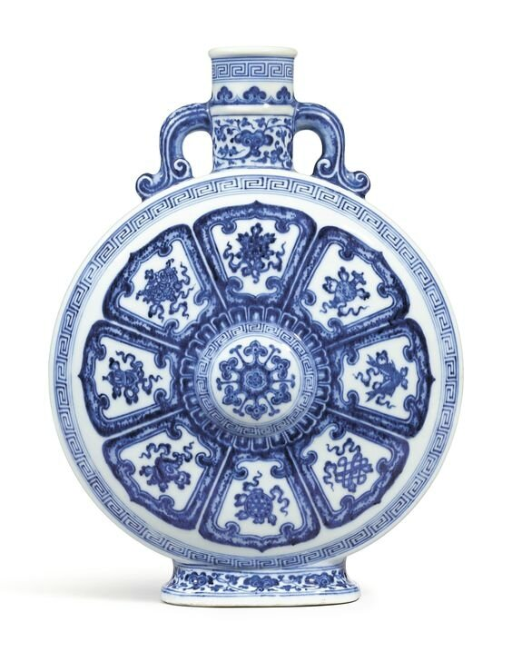 A blue and white  'Bajixiang' moonflask, seal mark and period of Qianlong