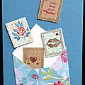 91. bleu, fuchsia et kraft - enveloppe et envolée de timbres