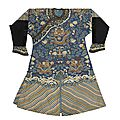 A blue ground kesi-woven dragon robe, late qing dynasty