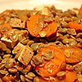 Lentilles et carottes au tofu fumé