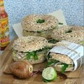 Bagels poulet avocat - bagels pollo aguacate