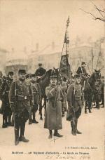 Belfort 1914 01 21 CPA Remise médaille Drapeau 42e