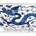 A blue and white 'dragon' bowl, Zhengde mark and period