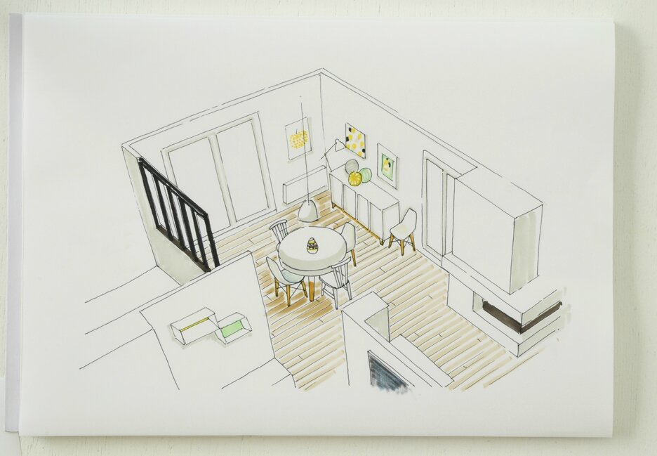 Awesome salon moderne en perspective contemporary for Salle a manger dessin anime